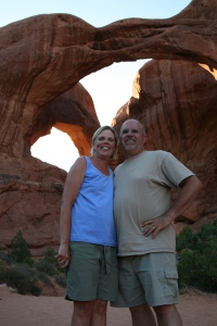 Friends Kathy & Chris Holck, under Double Arch