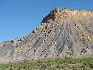 Mancos shale forms the inhospitable lower elevations of Book Cliffs, southeastern Utah