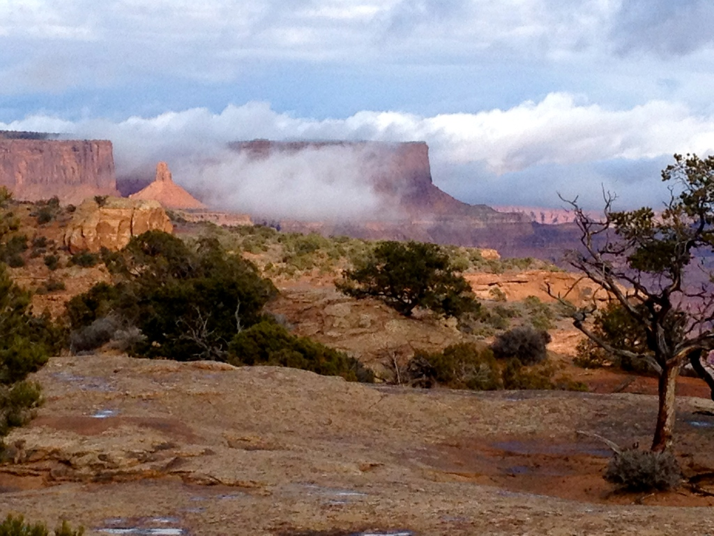 Clouds linger in the canyons after winter's last gasp.