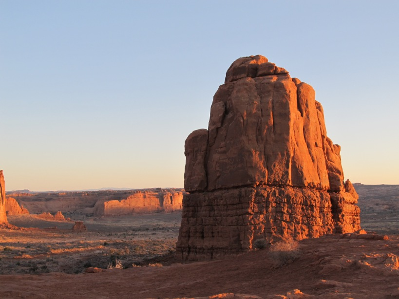 Sandstone monolith, Courthouse Towers, Arches National Park